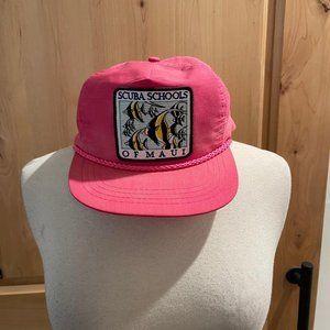 Vintage Scuba Schools of Maui Snap-back Pink Hat O